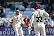 Wicket - Keshav Maharaj of Lancashire celebrates taking the wicket of Craig Overton of Somerset during the Specsavers County Champ Div 1 match between Somerset County Cricket Club and Lancashire County Cricket Club at the Cooper Associates County Ground, Taunton, United Kingdom on 5 September 2018.