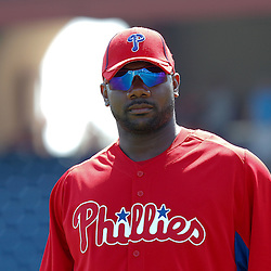 February 24, 2011; Clearwater, FL, USA; Philadelphia Phillies first baseman Ryan Howard (6) during a spring training exhibition game against the Florida State Seminoles at Bright House Networks Field. The Phillies defeated the Seminoles 8-0. Mandatory Credit: Derick E. Hingle