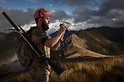 Hunter, studio composite. Background is the Arthur Range, Kahurangi National Park