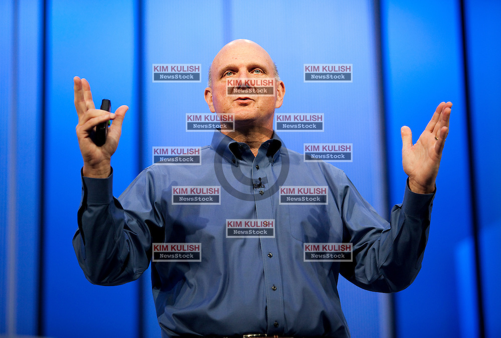 Steve Ballmer, chief executive officer of Microsoft, delivers a keynote  address to the crowd at the Microsoft 2013 Build Developers Conference in San Francisco,   Microsoft unveiled the new Windows 8.1 features and updates to the community.