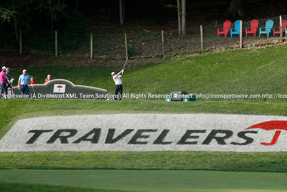 CROMWELL, CT - JUNE 23: Zac Blair hits from the 15th tee during the second round of the Travelers Championship on June 23, 2017, at TPC River Highlands in Cromwell, Connecticut. (Photo by Fred Kfoury III/Icon Sportswire)