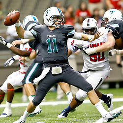 Sep 7, 2013; New Orleans, LA, USA; Tulane Green Wave quarterback Nick Montana (11) passes during the second quarter of a game against the South Alabama Jaguars at the Mercedes-Benz Superdome. Mandatory Credit: Derick E. Hingle-USA TODAY Sports