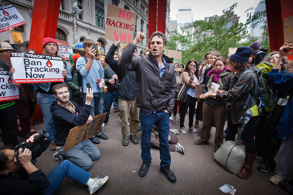 Mark Ruffalo leads an anti-fracking march during Occupy Wall Street in NYC