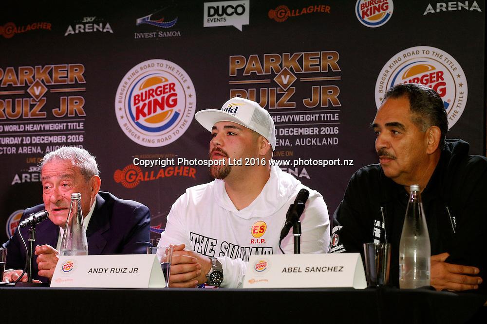 Bob Arum, Andy Ruiz Jr and Abel Sanchez, Final press conference before the December 10, Parker v Ruiz, WBO world boxing heavyweight title fight. Rec Bar, Auckland. 8 December 2016 / www.photosport.nz
