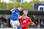 Eastleigh Defender, Paul Reid (15) and Wrexham AFC Forward, Jordan White (9) challenge for the ball during the Vanarama National League match between Eastleigh and Wrexham FC at Arena Stadium, Eastleigh, United Kingdom on 29 April 2017. Photo by Adam Rivers.