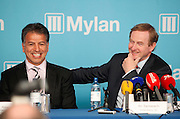 Taoiseach Enda Kenny TD announces Mylan's decision to invest $430 million and create in excess of 500 new jobs at its Galway and Dublin facilities...Robert Coury, Executive Chairman, Mylan is pictured with An Taoiseach Enda Kenny TD at the announcement by the Irish Development Authority (IDA), and Mylan one of the world's largest generics and speciality pharmaceutical companies, is expected to create more than 500 new jobs at its Galway and Dublin facilities by the end of 2016. Pic Jason Clarke Photography.