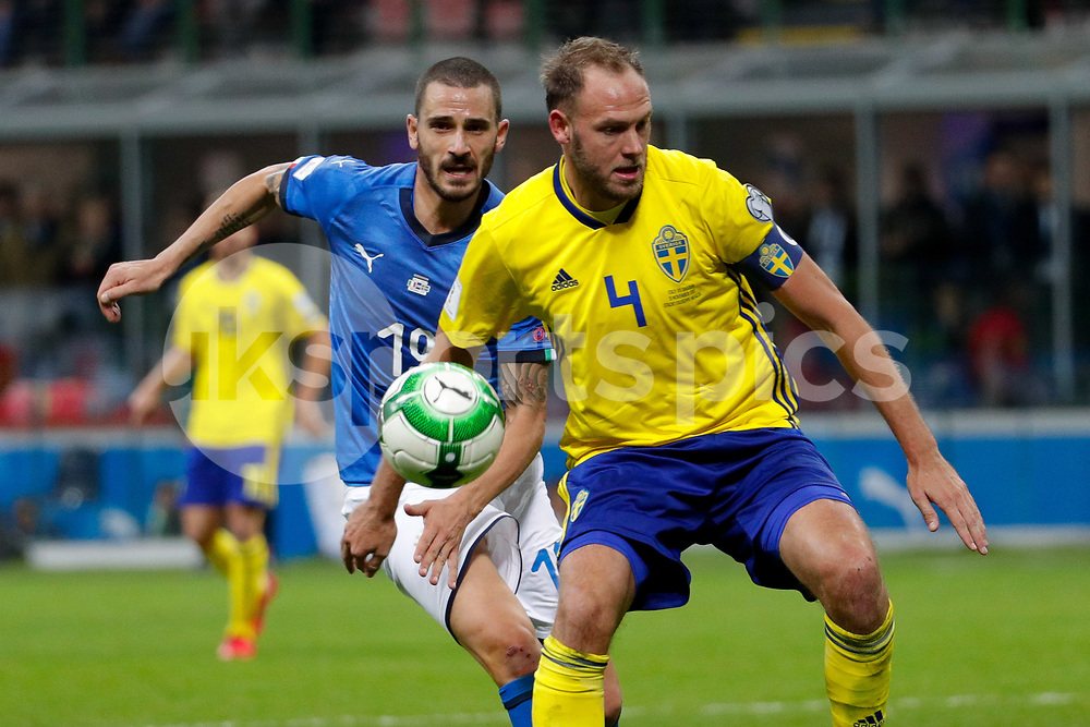 Andreas Granqvist of Sweden against Leonardo Bonucci of Italy during the 2018 World Cup Qualifying Play-Off match between Italy and Sweden at Stadio San Siro, Milan, Italy on 13 November 2017. Photo by Roberto Bregani.