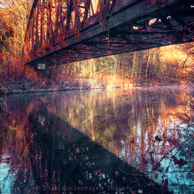 Abandoned bridge over river Wupper / Bergisches Land / Germany<br /> textured photo