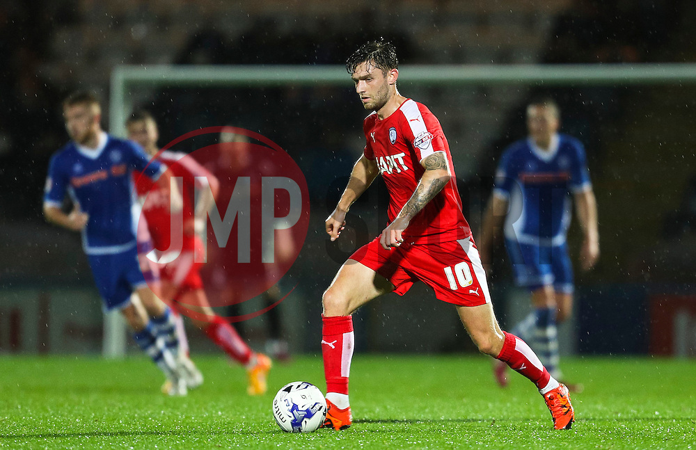 Jay O'Shea of Chesterfield in action  - Mandatory byline: Matt McNulty/JMP - 07966 386802 - 06/10/2015 - FOOTBALL - Spotland Stadium - Rochdale, England - Rochdale v Chesterfield - Johnstones Paint Trophy