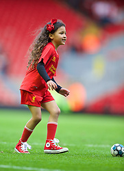 LIVERPOOL, ENGLAND - Sunday, May 11, 2014: The daughter of Liverpool's Glen Johnson after the Premiership match against Newcastle United at Anfield. (Pic by David Rawcliffe/Propaganda)