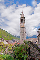 Ticino, Southern Switzerland. The tall, elegant church tower in Verdasio.