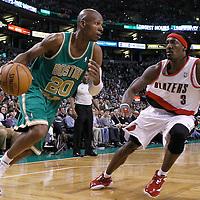 09 March 2012: Boston Celtics shooting guard Ray Allen (20) drives past  Portland Trailblazers forward Gerald Wallace (3) during the Boston Celtics 104-86 victory over the Portland Trail Blazers at the TD Banknorth Garden, Boston, Massachusetts, USA.