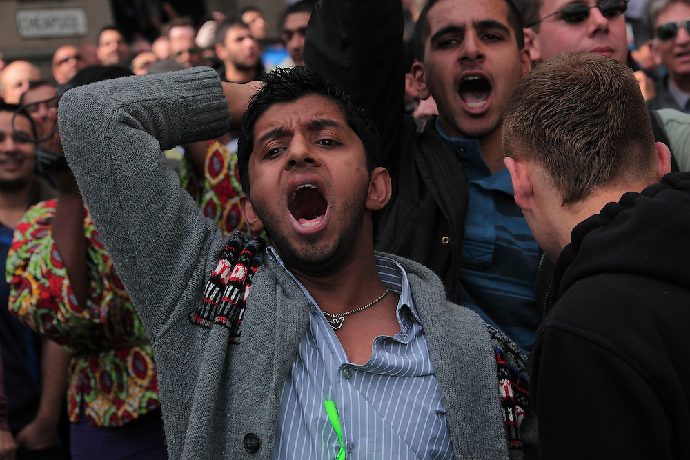 EDL (English Defence League) and UAF(Unite Against Fascism) demonstrate in Bradford