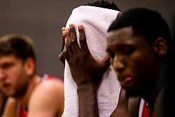 Daniel Edozie of Bristol Flyers wipes his head with a towel - Photo mandatory by-line: Robbie Stephenson/JMP - 29/03/2019 - BASKETBALL - English Institute of Sport - Sheffield, England - Sheffield Sharks v Bristol Flyers - British Basketball League Championship