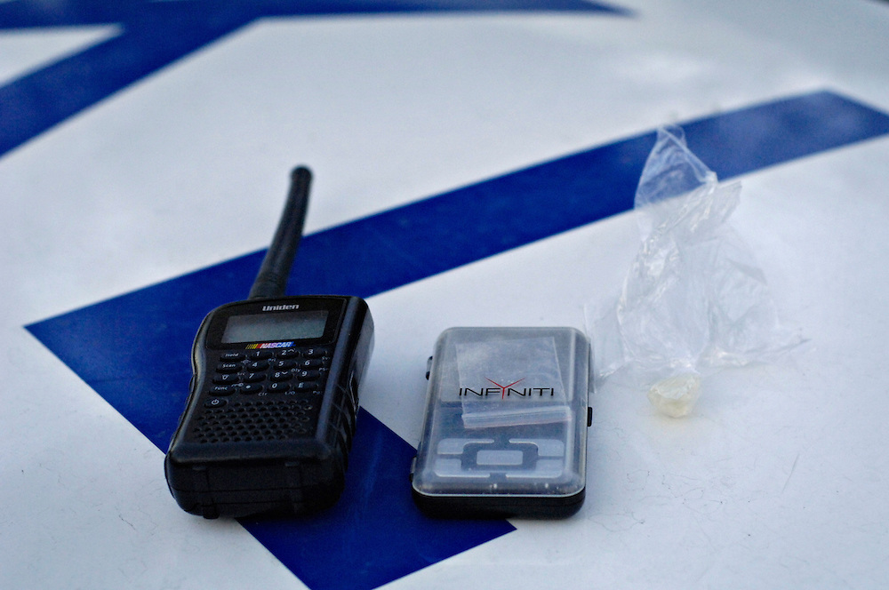 KELOWNA, BC- 01/12/09 - A scanner, scale and cocaine seized by the Kelowna police   Photo by Daniel Hayduk