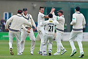 Wicket - Harry Podmore of Kent celebrates taking the wicket of Azhar Ali of Somerset during the Specsavers County Champ Div 1 match between Somerset County Cricket Club and Kent County Cricket Club at the Cooper Associates County Ground, Taunton, United Kingdom on 7 April 2019.
