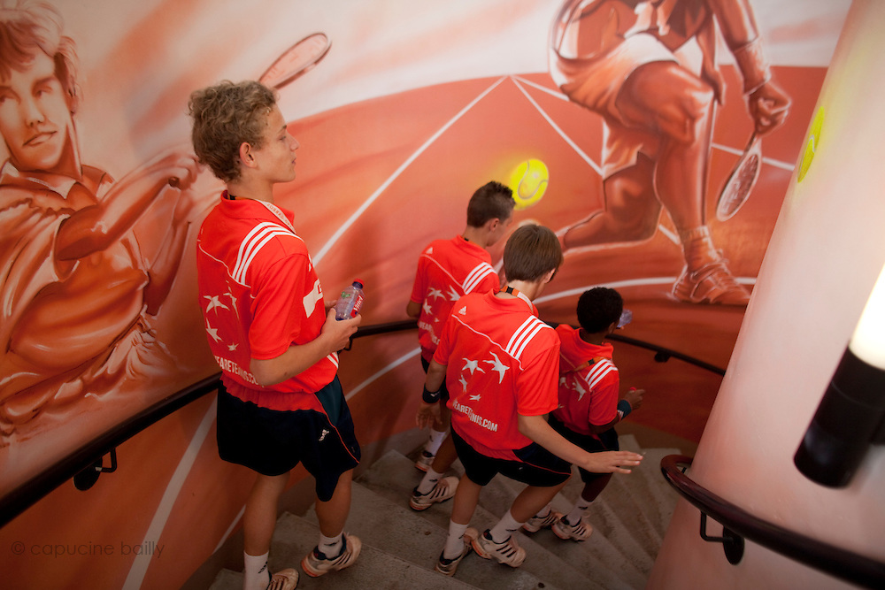 Roland Garros. Paris, France. June 1st 2012.A day with the ball boys..A team is going to have lunch