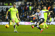 Derby County's Bradley Johnson takes a shot during the Sky Bet Championship match between Derby County and Brighton and Hove Albion at the iPro Stadium, Derby, England on 12 December 2015. Photo by Shane Healey.
