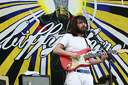 Simon Neil, of the Scottish rock band Biffy Clyro, play the main stage on Sunday 10th July, 2005 at the two-day T in the Park festival, at Balado, Kinross-shire, Scotland..