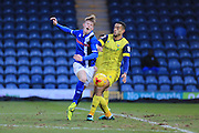 Andy Cannon is fouled on the edge of the penalty area during the EFL Sky Bet League 1 match between Rochdale and Oxford United at Spotland, Rochdale, England on 21 January 2017. Photo by Daniel Youngs.