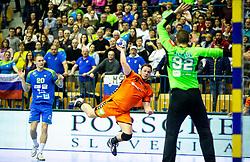 14-04-2019 SLO: Qualification EHF Euro Slovenia - Netherlands, Celje<br /> Evert Kooijman of Netherlands vs Rok Zaponsek of Slovenia during handball match between National teams of Slovenia and Netherlands in Qualifications of 2020 Men's EHF EURO