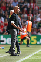 Football - 2017 / 2018 Premier League - Southampton vs. Manchester City<br /> <br /> A frustrated Manchester City Head Coach Pep Guardiola vents his anger at St Mary's Stadium Southampton<br /> <br /> COLORSPORT/SHAUN BOGGUST