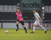 Scotland's Jamie McCart strides away from Estonia's Rauno Sappinen - Scotland under 21s v Estonia international challenge match at St Mirren Park, St Mirren. Pic David Young<br />  <br /> - © David Young - www.davidyoungphoto.co.uk - email: davidyoungphoto@gmail.com