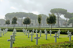 Rain shower over the Sicily–Rome American Cemetery and Memorial, a Second World War American military war grave cemetery, located in Nettuno, near Anzio, Lazio, Italy.