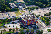 Nederland, Noord-Holland, Hilversum, 05-08-2014; Hoofdingang Mediapark met Instituut voor Beeld en Geluid.  VPRO-gebouw en dat van NTR-Vara in de achtergrond.<br /> Business park of the public and commercial broadcasting companies, the building of the Netherlands Institute for Sound and Vision.<br /> luchtfoto (toeslag op standaard tarieven); <br /> aerial photo (additional fee required); <br /> copyright foto/photo Siebe Swart.
