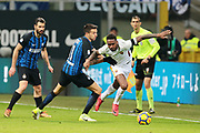 Gerson of AS Roma and Matias Vecino of Inter during the Italian championship Serie A football match between FC Internazionale and AS Roma on January 21, 2018 at Giuseppe Meazza stadium in Milan, Italy - Photo Morgese - Rossini / ProSportsImages / DPPI