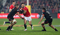 Rugby Union - 2017 British & Irish Lions Tour of New Zealand - Crusaders vs. British & Irish Lions<br /> <br /> Heiden Bedwell-Curtis and Codie Taylor of The Crusaders tackle Ben Te'o of The British and Irish Lions at AMI Stadium [Rugby League Park], Christchurch.<br /> <br /> COLORSPORT/LYNNE CAMERON