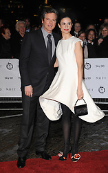 Colin Firth and wife Livia Gluggioli arrives at the 31st London Film Critics Circle Awards 2011, the BFl Southbank, London.