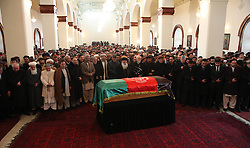 61197476<br /> Afghan president Hamid Karzai (C second row) prays during funeral ceremony for Afghan Vice President Marshal Mohammad Qasim Fahim, at the Presidential Palace in Kabul, Afghanistan on March 11, 2014. The state funeral service for Afghan First Vice President Marshal Mohammad Qasim Fahim was held amid tight security in the Presidential Palace on Tuesday, 11th March 2014. Picture by  imago / i-Images<br /> UK ONLY