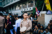 A man in uniform outside of Siriraj Hospital on June 14, 2016 in Bangkok, Thailand. Thailand's King Bhumibol Adulyadej, the world's longest-reigning monarch, died at the age of 88 in Bangkok's Siriraj Hospital on Thursday after his 70-year reign. Prime Minister Prayut Chan-ocha made a statement Thailand would hold a one-year mourning period as the Crown Prince Maha Vajiralongkorn confirmed that he would perform his duty as heir to the throne.