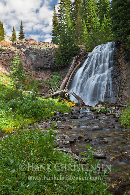 Near its headwaters, the Imnaha River becomes a waterfall, Eagle Cap Wilderness, Oregon