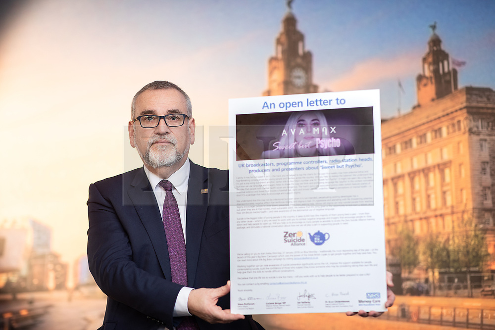 © Licensed to London News Pictures. 18/01/2019. Liverpool , UK. ZSA co-founder , JOE RAFFERTY , with a copy of the letter . Ava Max's number one single , Sweet but Psycho , has been criticised by the Zero Suicide Alliance (ZSA), a suicide prevention campaign group . In an open letter to the pop star and UK broadcasters , co-signed by Liverpool Mayor Steve Rotherham and Luciana Berger MP , the ZSA say the song's lyrics and the video's imagery reinforce negative perceptions about people with mental health issues and undermines their effort to combat stigma , which can prevent suicidal people from seeking help , with potentially life-threatening consequences . Photo credit: Joel Goodman/LNP