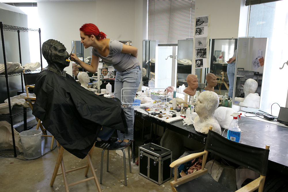 23rd October 2008, Los Angeles, California. Extreme Makeover!  Students at the Cinema Makeup School in Hollywood California, graduate from a special effects make-up course.  In this part of the course, movie industry hopefuls learn to design and create latex masks over a period of four weeks, before demonstrating their competence by transforming models into drag queens, aliens and monsters in only eight hours. Pictured is: David LeBlanc (22) as an alien sea-moster. PHOTO © JOHN CHAPPLE / REBEL IMAGES.john@chapple.biz    www.chapple.biz.(001) 310 570 9100.