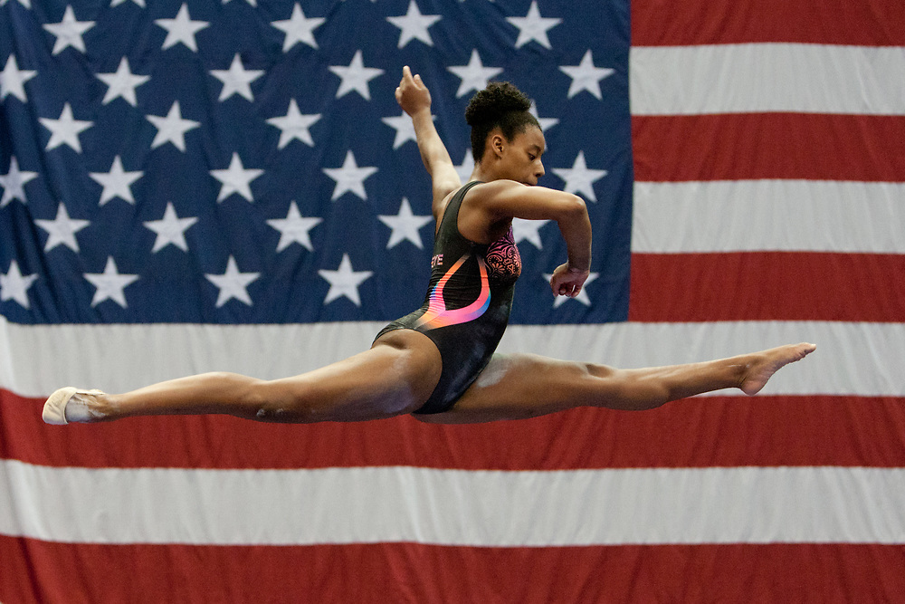 USA Gymnastics GK Classic - Schottenstein Center, Columbus, OH - July 28th, 2018. Isabelle Mabanta during warm-ups,  competes on the beam  at the Schottenstein Center in Columbus, OH; in the USA Gymnastics GK Classic in the senior division. Simone Biles won the allround with Riley McCusker second and Morgan Hurd third. - Photo by Wally Nell/ZUMA Press