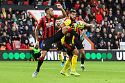 Callum Wilson (13) of AFC Bournemouth battles for possession with Adrian Mariappa (6) of Watford during the Premier League match between Bournemouth and Watford at the Vitality Stadium, Bournemouth, England on 12 January 2020.