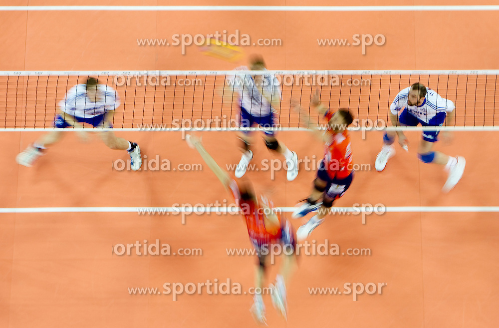 Players  during volleyball match between ACH Volley (SLO) and Zenit Kazan (RUS) in Playoffs 12 Round of 2011 CEV Champions League, on February 2, 2011 in Arena Stozice, Ljubljana, Slovenia. Zenit defeated ACH Volley 3-0. (Photo By Vid Ponikvar / Sportida.com)