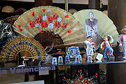 Traditional Spanish fans and ornaments in shop window, city of Valencia, Spain