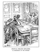 """Political Phrases Explained: """"A Conference of the Powers"""". (Mars the God of War and Peace yawn in an empty conference room on opposite sides of the table)"""
