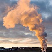 Accidental man-made steam vent at sunrise, Krafla, Iceland