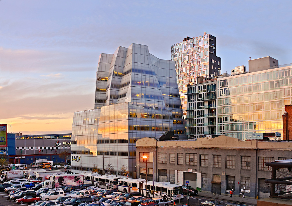 IAC building designed by Frank O. Gehry and 100 Eleventh Avenue designed by Ateliers Jean Nouvel and Beyer Blinder Bell,  New York City, New York, Chelsea
