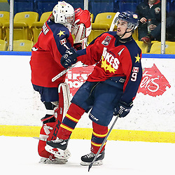 WHITBY, ON - MAR 14,  2017: Ontario Junior Hockey League ,playoff game between  the Whitby Fury and the Wellington Dukes , Nic Mucci #9 of the Wellington Dukes celebrates the goal with Connor Ryckman #1 of the Wellington Dukes<br /> (Photo by Ed McPherson / OJHL Images)