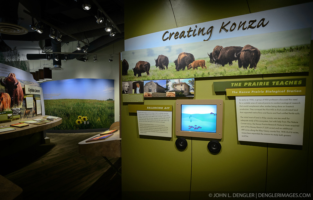 The $24.4 million Flint Hills Discovery Center, located in Manhattan, Kansas celebrates the history, culture, and heritage of the Flint Hills and tallgrass prairie. Through interactive exhibits Flint Hills Discovery Center visitors can explore the science and cultural history of the last stand of tallgrass prairie in North America – one of the world's most endangered ecosystems. The Flint Hills Discovery Center was designed by the museum architectural firm Vern Johnson Inc. with interpretive design and planning by Hilferty and Associates. The 34,900 square foot science and history learning center features permanent interactive exhibits, temporary exhibits, and areas for community programs and outreach activities. Attractions of the Flint Hills Discovery Center include: a 15-minute 'immersive experience' film which has special effects such as fog, mist and wind which appear in the theater as the high definition film is shown on a large panoramic screen; an 'underground forest' depicting the long roots of prairie plants including the 7-foot roots of bluestem prairie grass; explanations of importance of fire to the Flint Hills tallgrass prairie; and exhibits about the people and cultural history of the Flint Hills. The Flint Hills Discovery Center received a LEED green building certification for their environmental design and energy efficiency, including their lighting and geothermal heating/cooling system.