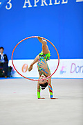 "Araujo Rita during hoop routine at the International Tournament of rhythmic gymnastics ""Città di Pesaro"", 01 April,2016. Rita is an Portuguese individualistic gymnast, born in Almada, 2003.<br />
