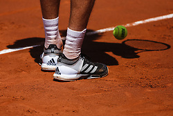 April 27, 2018 - Barcelona, Spain - Stefanos TSITSIPAS from Greece Addidas shoes during the Barcelona Open Banc Sabadell 66º Trofeo Conde de Godo quarter-finals at Reial Club Tenis Barcelona on 27 of April of 2018 in Barcelona. (Credit Image: © Xavier Bonilla/NurPhoto via ZUMA Press)