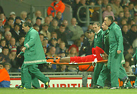 Photo: Back Page Images. 30/10/2004.<br /> Barclays Premiership. Blackburn Rovers v Liverpool. Ewood Park.<br />  Djibril Cisse is taken from the pitch on a stretcher