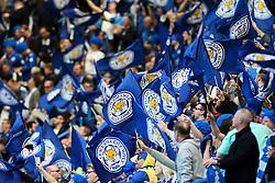 Leicester City fans wave their flags - Mandatory byline: Jason Brown/JMP - 15/05/2016 - FOOTBALL - London, Stamford Bridge - Chelsea v Leicester City - Barclays Premier League